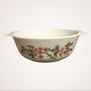 "VINTAGE PYREX / England pink flowers dish 8"""